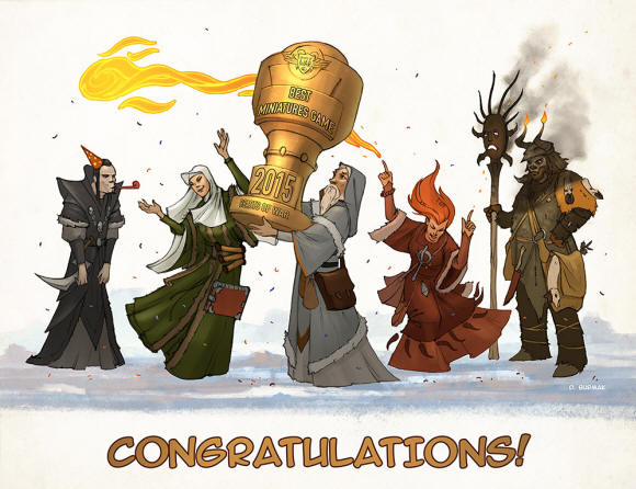 Dmitry Burmak, who has painted all of the artwork for Frostgrave, created this little piece to celebrate Frostgrave's win in the Beasts of War awards! Thanks for everything, Dmitry!