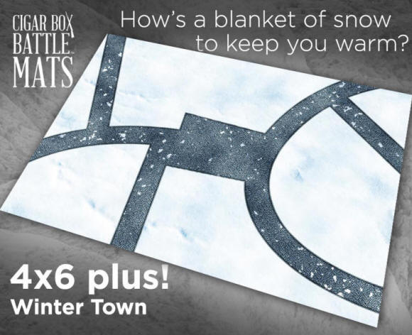 Prize Draw 1: This will be drawn from the names of people who have ordered in week 1 (3rd October - 10th October) and the prize is a Cigar Box Battle mat of the Winter Town.