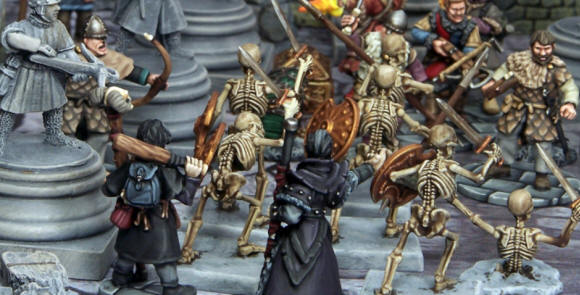 Necromancer and his apprentice raise skeletons to attack the soldiers of another wizard. While necromancers are not necessarily evil, there are few that have delved deeply into this school of magic without giving in to its corrupting influence.