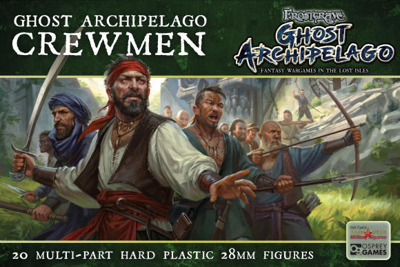 Here's a first glimpse of the frames of the plastic Crewmen for Frostgrave Ghost Archipelago, and the box cover artwork.