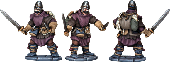 Treasure Hunter. Hand Weapon, Dagger, Leather Armour and a load of treasure! Made from the Frostgrave Soldiers box set.
