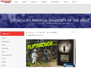 reviews of Dracula's America, one from Wargames Illustrated